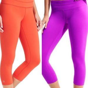 2 Pairs Athleta Sonar Capri Purple/Orange Sz Small